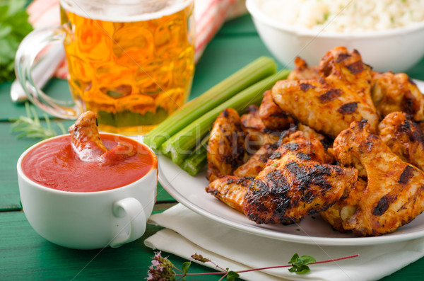 Barbecue grilled chicken wing Stock photo © Peteer