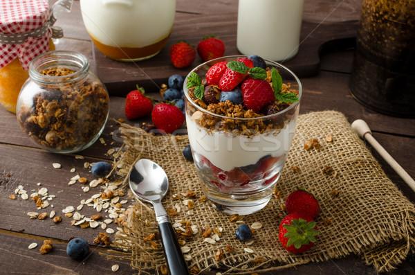 йогурт гранола Ягоды небольшой стекла Сток-фото © Peteer