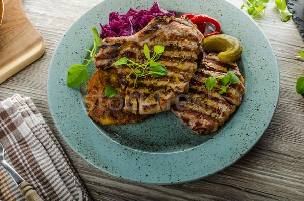 Grelhado carne de porco ervas alho batata panquecas Foto stock © Peteer
