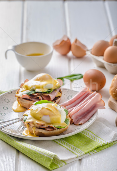Egg Benedict with ham Stock photo © Peteer
