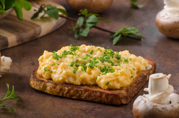 Roereieren frans toast vers champignons kruiden Stockfoto © Peteer