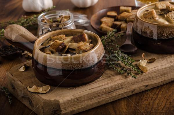 Rusztikus gombák leves cseh erdő friss Stock fotó © Peteer
