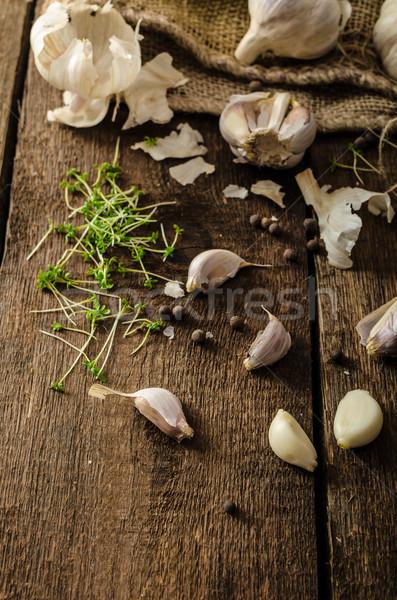 Domestic bio garlic - Czech, spices and fresh microgreens Domestic bio garlic Stock photo © Peteer