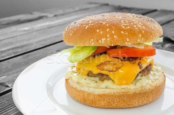 Сток-фото: чизбургер · бекон · соус · саду · Салат · домашний