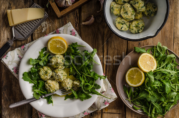 Ricotta dumplings with spinach Stock photo © Peteer