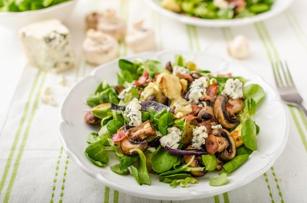 サラダ 新しい ブルーチーズ ベーコン オリーブオイル ストックフォト © Peteer