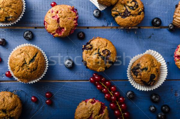 Házi készítésű egészséges muffinok gyümölcs rozs liszt Stock fotó © Peteer