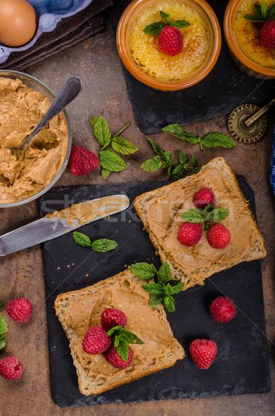 Photo stock: Toast · beurre · d'arachide · baies · rustique · menthe · maison