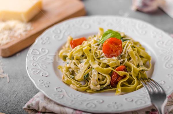 Délicieux pâtes fromage bleu légumes fraîches parmesan Photo stock © Peteer