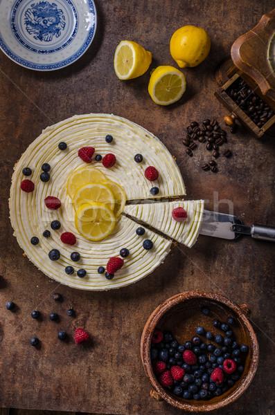 Stock fotó: Citrom · sajttorta · bogyók · friss · gyümölcsök · sötét