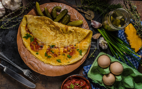 Omelet with chorizo and cheddar cheese Stock photo © Peteer