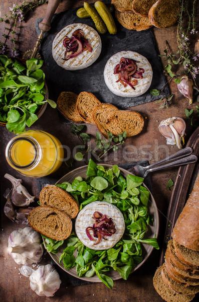ızgara camambert peynir salata panini ekmek Stok fotoğraf © Peteer