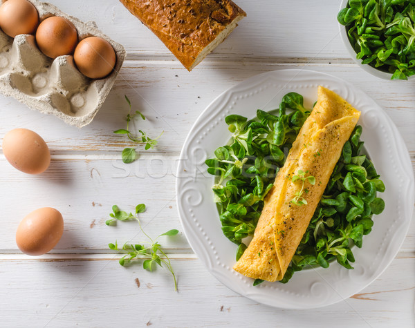 True French omelette with salad Stock photo © Peteer