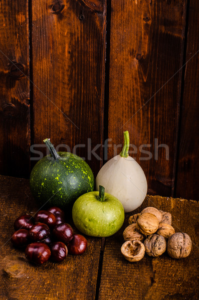 Foto d'archivio: Halloween · ancora · vita · zucche · ombre · legno