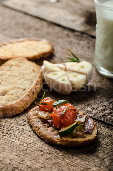 Bruschetta mediterráneo hortalizas frito aceite de oliva ajo Foto stock © Peteer