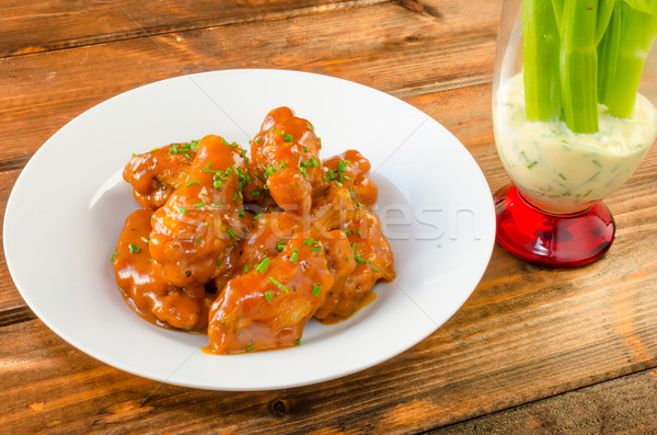 Buffalo chicken hot wings Stock photo © Peteer