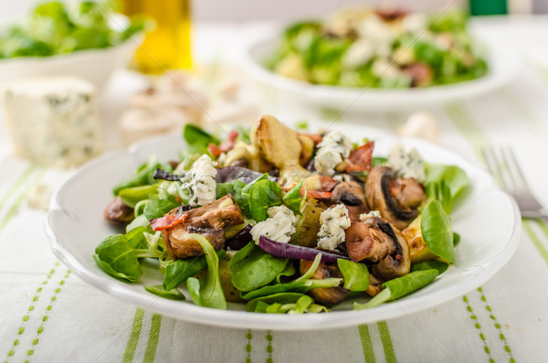 Salad with new potatoes and blue cheese Stock photo © Peteer