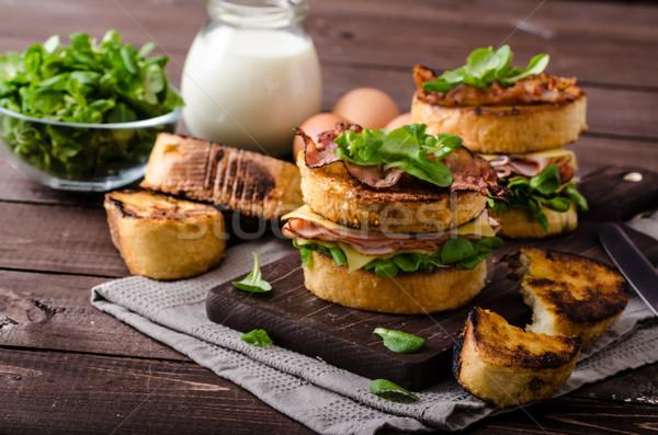 Stok fotoğraf: Fransız · tost · ev · yapımı · jambon · peynir