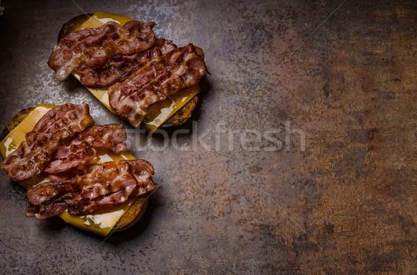 Kaas brood spek geroosterd cheddar Stockfoto © Peteer