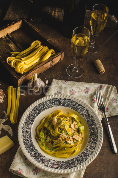 Tagliatelle with chicken curry Stock photo © Peteer