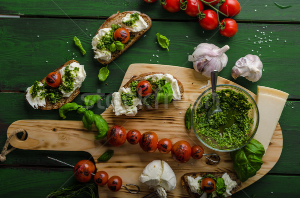 ızgara pesto mozzarella domates ev yapımı sebze Stok fotoğraf © Peteer
