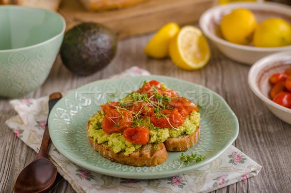 Avokado domates otlar üst ahşap Stok fotoğraf © Peteer