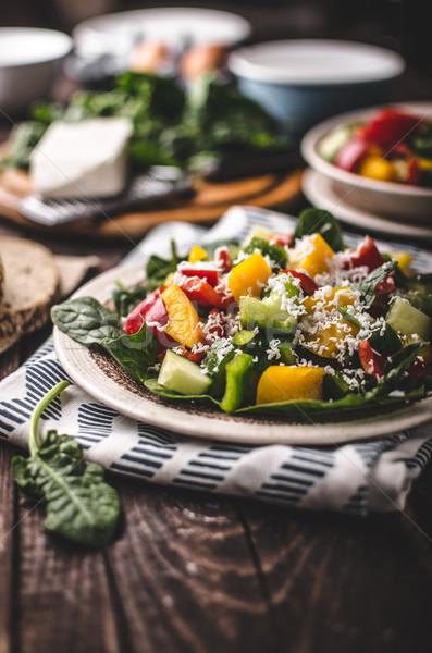 Mixed salad, vegetable salad Stock photo © Peteer