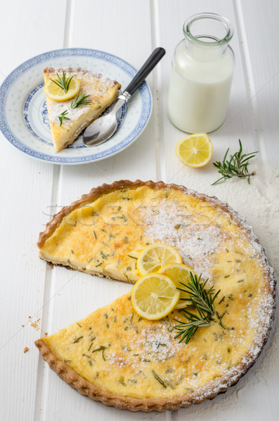 Lemon tart with rosemary Stock photo © Peteer