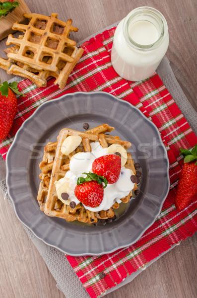Stock fotó: Csokoládé · sültkrumpli · gyümölcsök · banán · eprek · tej