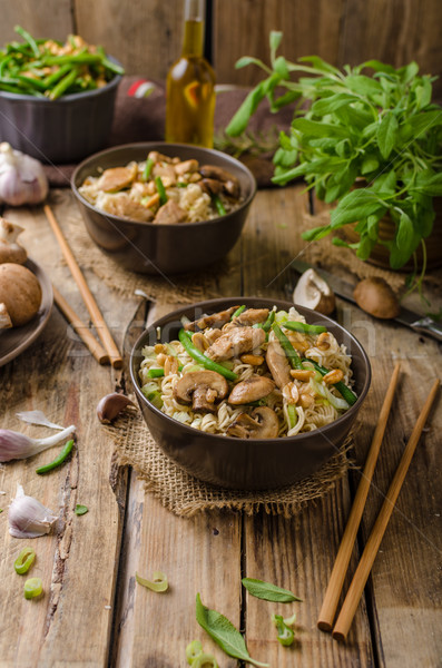 Stock photo: Chinese noodles with brown mushrooms