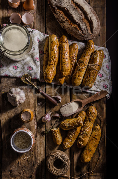Home-baked bread sticks Stock photo © Peteer