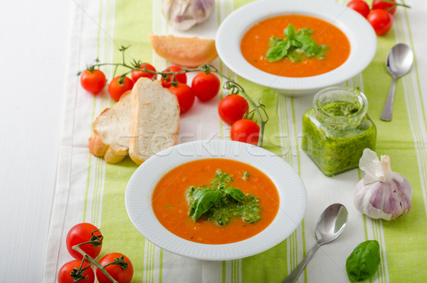 Tomato soup with gremolata Stock photo © Peteer