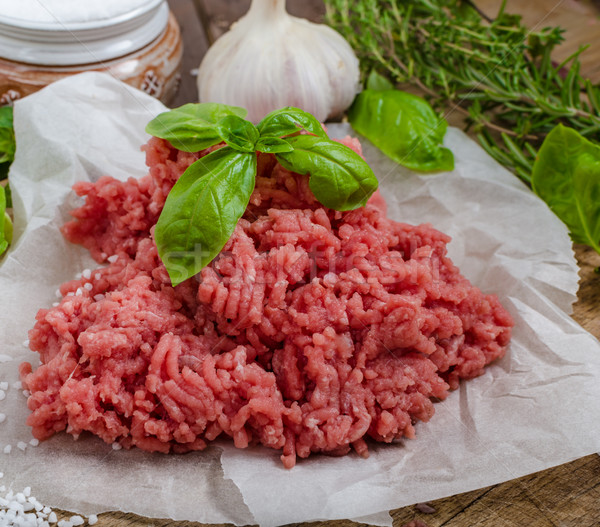 Stock photo: Minced beef raw