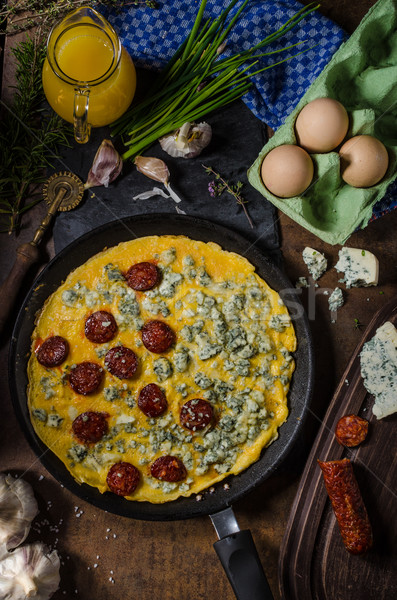 Omelet with blue cheese and sausage Stock photo © Peteer