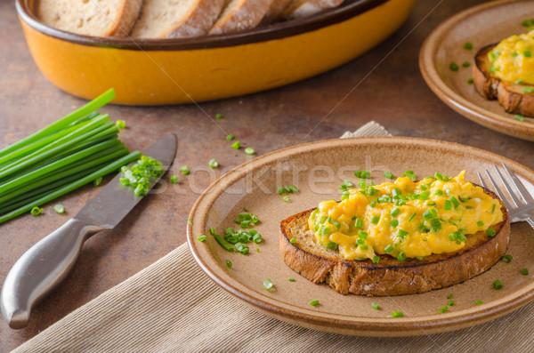 Rántotta gyógynövények egyszerű tele fehérje reggeli Stock fotó © Peteer