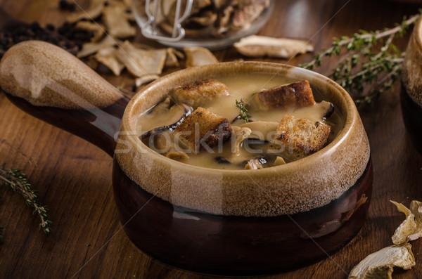 Rustic mushrooms soup Stock photo © Peteer