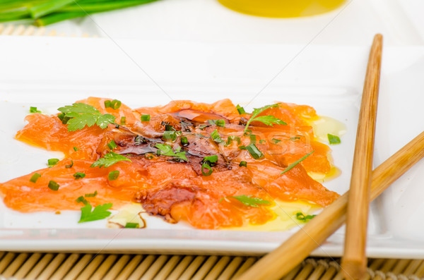 Sashimi nouvelle style chaud pétrolières herbes Photo stock © Peteer