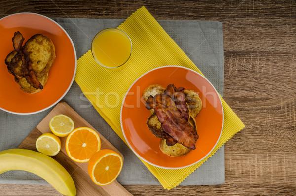 Fransız tost domuz pastırması taze meyve suyu kek Stok fotoğraf © Peteer