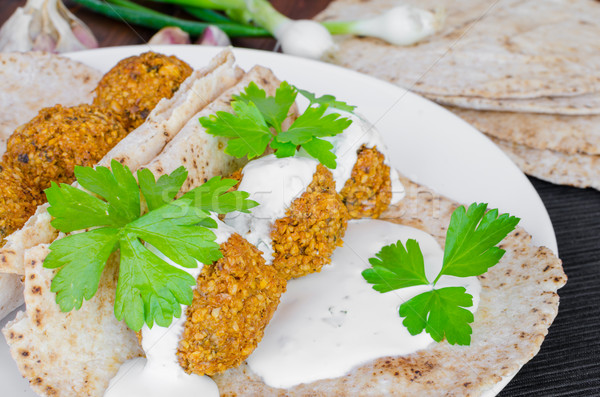 Chickpea falafel with lebanese bread Stock photo © Peteer