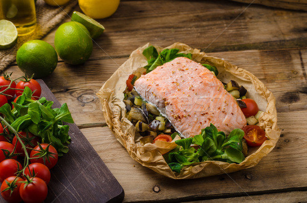 Salmon baked in papillote Stock photo © Peteer