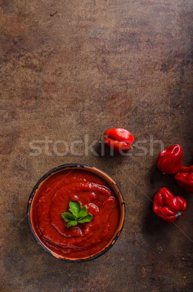 Sauce piquante piment poivrons tomates persil haut Photo stock © Peteer