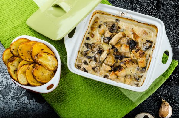 Сток-фото: куриные · грибы · кремом · пряный · картофельные · чипсы