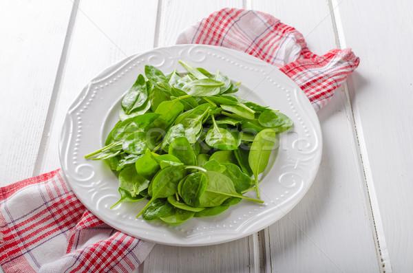 Fresche baby spinaci bio qualità legno Foto d'archivio © Peteer
