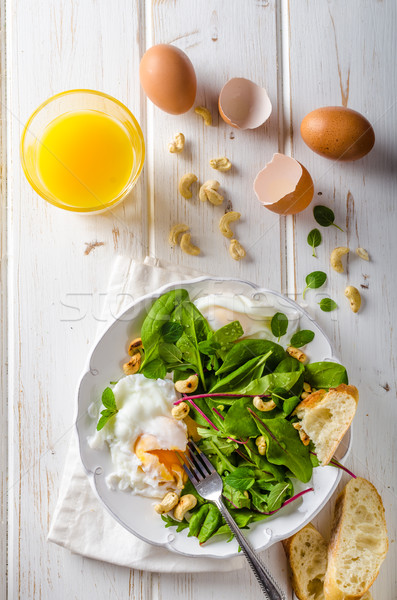Lamb lettuce salad with fried egg Stock photo © Peteer