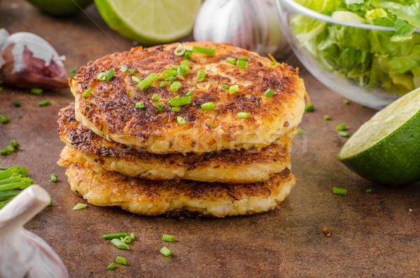 Stock photo: Potato pancakes with garlic