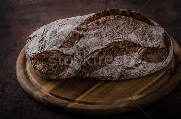 Teljes kiőrlésű rusztikus kenyér házi készítésű termék fotó Stock fotó © Peteer