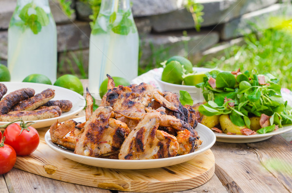 Delicious barbecue with lemonade Stock photo © Peteer