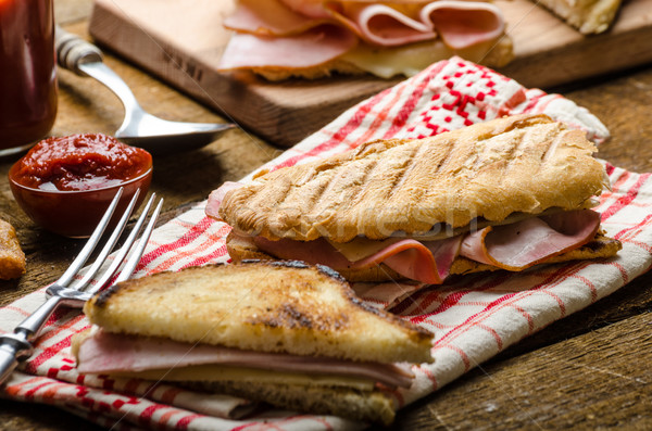Quick dinner, toast with ham and cheese Stock photo © Peteer