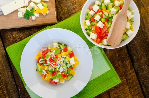 Saláta fetasajt zöldség fa asztal étterem zöld Stock fotó © Peteer