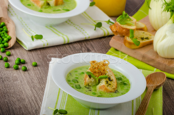 Spring peas soup Stock photo © Peteer